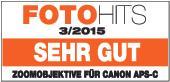 """Testurteil """"sehr gut"""" für Canon APS-C-Kameras laut FotoHits 03/2015"""
