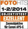 """Testurteil """"exzellent"""" für Canon APS-C-Kameras laut FotoHits 01-02/2014"""
