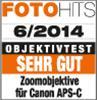 """Testurteil """"sehr gut"""" für Canon APS-C-Kameras laut FotoHits 06/2014"""
